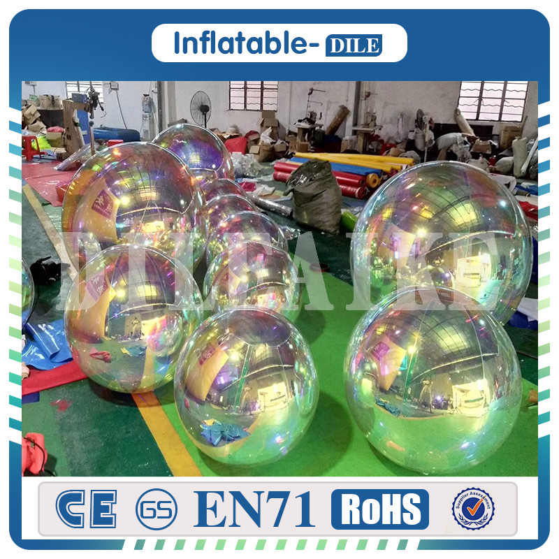 Large Inflatable Mirror Balls Floating Mirror Ball Inflatable Silver Reflective Balloon For Advertising