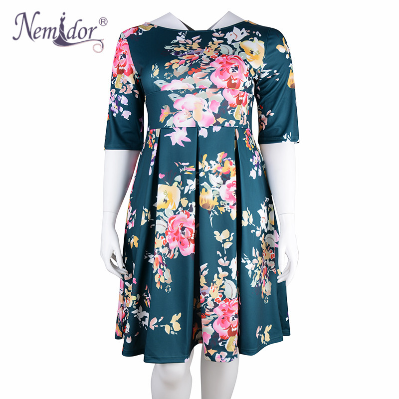 Nemidor Women 1950s Vintage Half Sleeve Plus Size 8XL 9XL Print A line  Dress Sexy V low Back Party Midi Elegant Swing Dress-in Dresses from Women s  Clothing ... ad851e6f5b5f