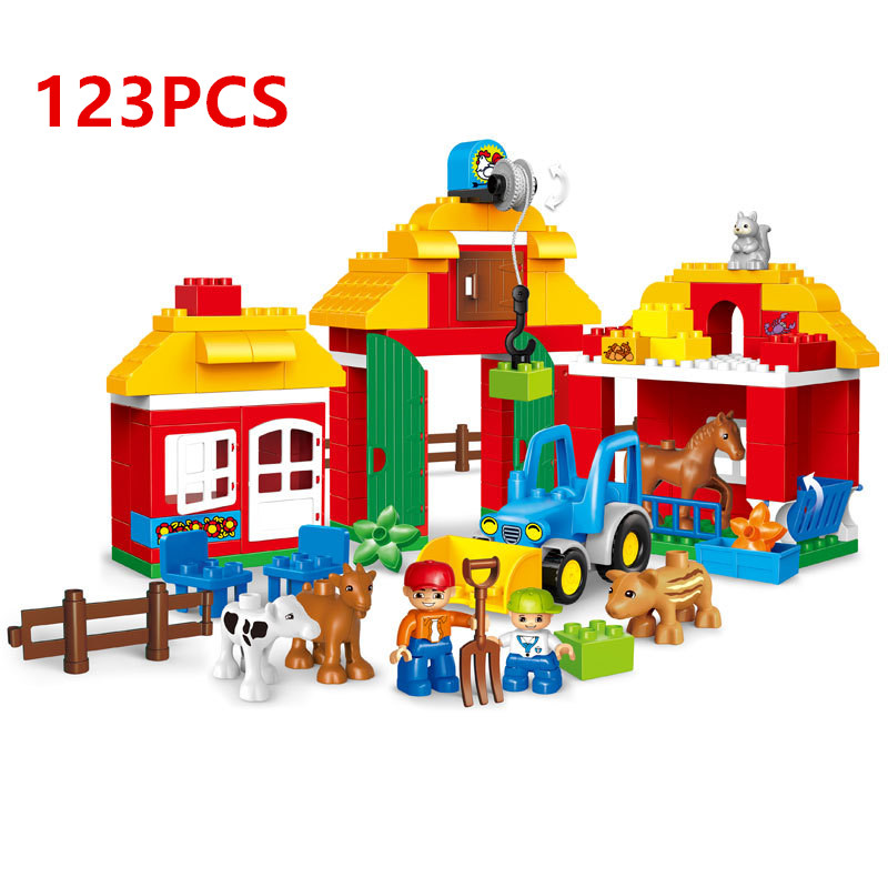 123pcs DIY Happy Farm And Zoo Animals Building Blocks Toys Compatible With duploINGlys Building Blocks Toys