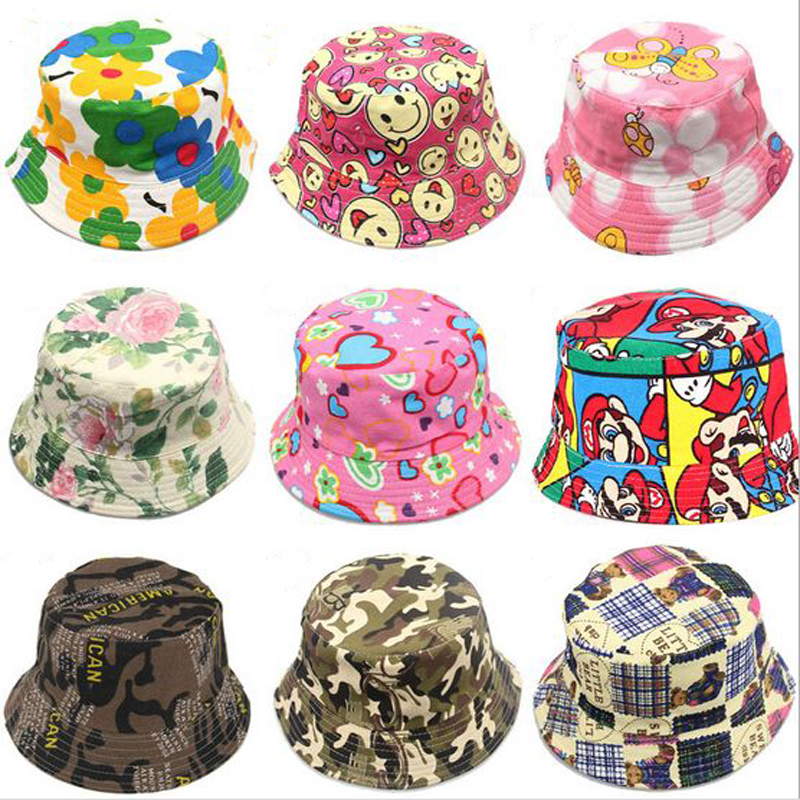 b0d577608 US $3.3 |36 Models Children's Bucket Hats New Fashion Print Summer Sun Hat  Colorful Patch Flat Caps-in Bucket Hats from Apparel Accessories on ...