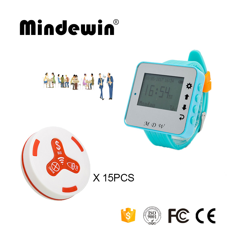 Mindewin Wireless Paging System 15PCS Table Call Button M-K-3 + 1PCS Watch Pager M-W-1 Reataurant Wireless Calling System wireless table call system monitor bell buzzer used in the cafe bar restaurant 433 92mhz 2 display 1 watch 18 call button