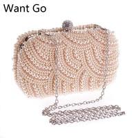 44d69cdd54b5 Want Go Designer Bride Wedding Party Pearl Clutch Bag Fashion Women Beaded  Evening Bag Elegant Lady