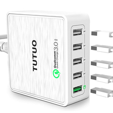 TUTUO QC-025P Quick Charge 3.0 Fast USB Charger 40W 5-Port Travel Desktop Charger Adapter for iPhone 7 Galaxy S7 Xiaomi Note etc