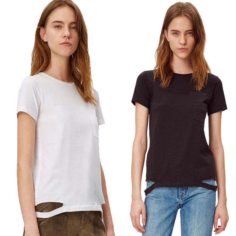 Ladies Solid Color T-shirt For Women New Arrival Women O-neck Hem Broken Edge Women Short Sleeve T-shirt