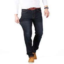 Big Size 28-48 Man Jeans High Stretch Straight Long Slim Trousers Fashion Casual Black Blue Denim Male Business Jeanswear