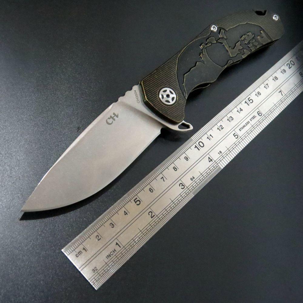 High quality CH 3504 Folding Knife S35VN blade steel pocket knife TC4 Titanium Handle ball Bearing camping knife wasserkraft leine 3504