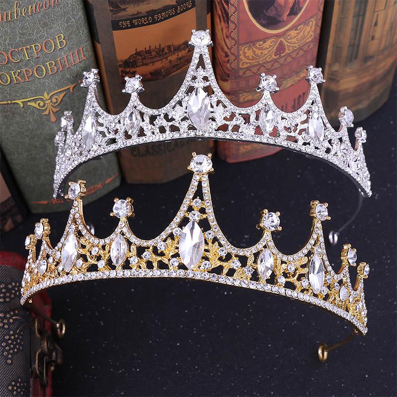 Gold/Silver Alloy Rhinestone Crystal Crown Tiaras de Noiva Headpiece Hair Jewelry Women Wedding Birthday Hair Accessories LB