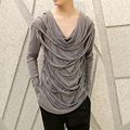Men long sleeved gloves T-shirt male shredded tassel V-neck T shirt cool men Tee shirt punk rock stage costumes A372
