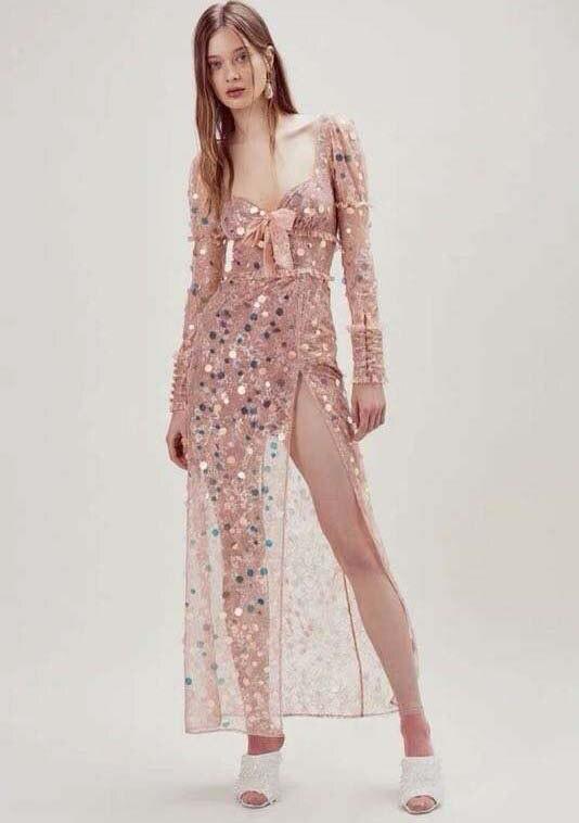 Été mode robe pour femmes sexy boho robe longue vadim mignon rose robes femme fête nuit silm sequin vestiti donna