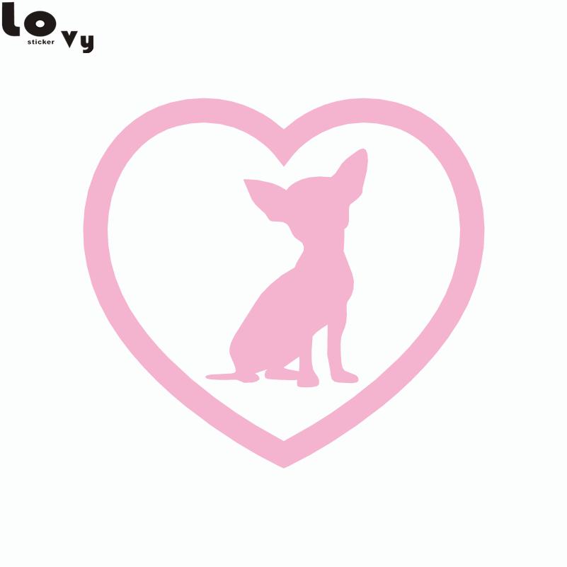 2st Söt Chihuahua Heart Dog Car Sticker Tecknad djurfönster - Exteriör biltillbehör - Foto 6