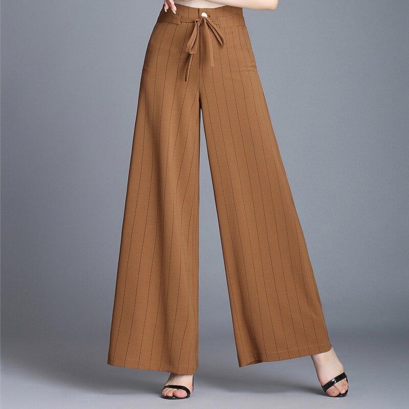 caqui Casual De Negro Sueltos La Alta Mujer Cintura Pantalones Ancha 2018 Pierna blanco Mujeres Ropa Las Longitud B5qXnw1Z6x