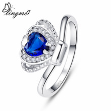 lingmei Wholesale Crown Princess Jewelry Wedding Fashion Heart Cut Blue & White Cubic Zircon Silver Ring Size 6 7 8 9