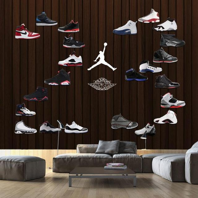 7b1569658156a5 Free Shipping 3D custom basketball shoe background mural painting gym shoe  store wallpaper mural