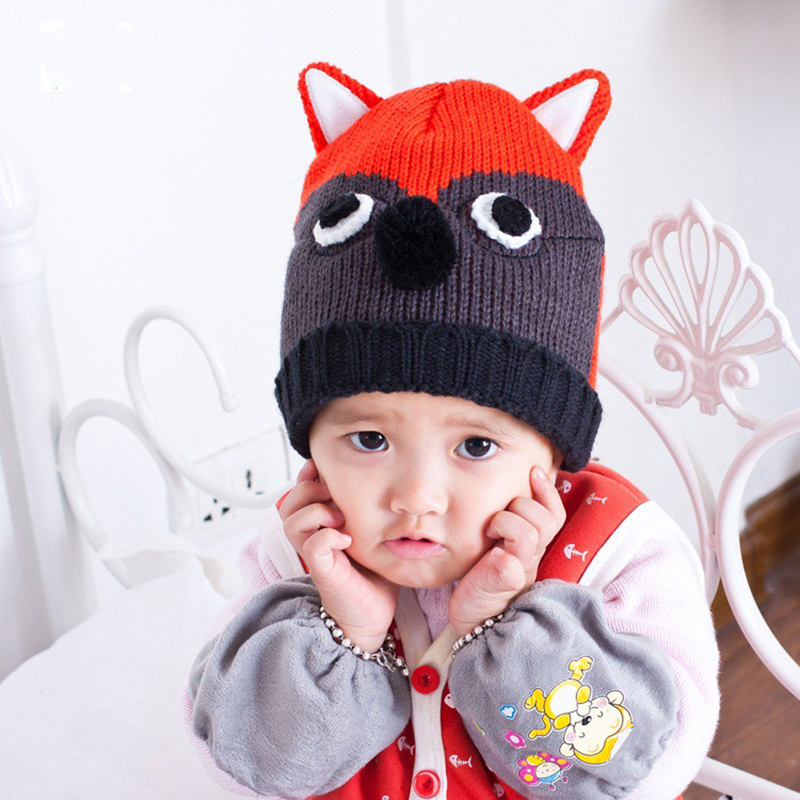 Cartoon Baby Hats Fox Crochet Beanie Photography Props Winter Warm Children Hats Cute Animal Boys Girls Hat Baby Boys Clothing