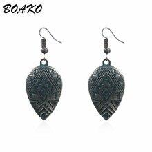 BOAKO Vintage Drop Earrings for Women Boho Ethnic Metal Leaves Dangling Long Statement Bohemia Hanging Earring Jewelry