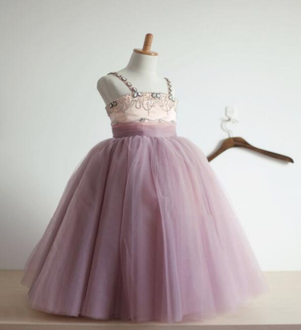 2017 Purple New Sweet Flower Girl Dresses for Wedding Satin with Tulle Straps Baby Girls Birthday Party Ball Gown Custom Made lovely purple ball gown long flower girl dresses for wedding custom made girls pageant gown