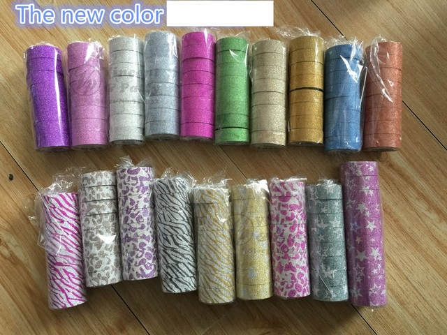 [Stock clearance] 6 pcs Bling bling glitter washi tape Gold powder masking tapes Scrapbooking stickers School supplies A6407 4