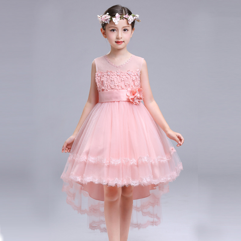 Trailing Elegant Flower Girls Dresses Children Purple Pink Butterfly Wedding Dress Kids Baby Ball Gown Bow Party Prom Dress
