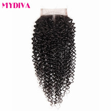 Mydiva Middle Part Lace Closure With Baby Hair 100% Kinky Curly Swiss Lace Remy Human Hair 1 Piece 8-18inch