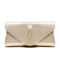 Genuine Leather Crocodile Pattern Handbag Women Designer Chain Shoulder Bags Ladies Fashion Evening Clutch Bag Luxury Gold Purse