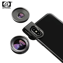 APEXEL 4K HD Mobile Phone Lens 110 degree Wide Angle 10X Macro Lens 2 in 1 Camera Lenses For iPhone XR Samsung S10 Redmi Note 7