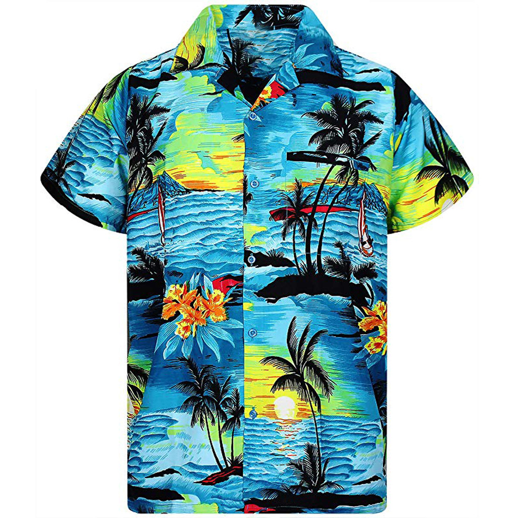 Men Shirt Summer Fashion Men's Casual Button Hawaii Print Beach Short Sleeve Quick Dry Top Blouse Hawaiian Shirt Mens Cotton