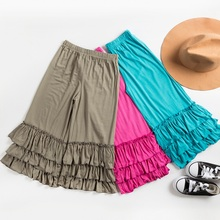 HAYDEN Teen Girls Ruffle Pants Outfits Kids Solid Color Calf-Length Flare Leggings 2017 Summer Casual Trousers for Children