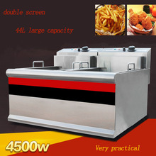 1PC Thickened Double cylinder electric fryer commercial fryer fryer fried chicken row machine  large capacity fryer