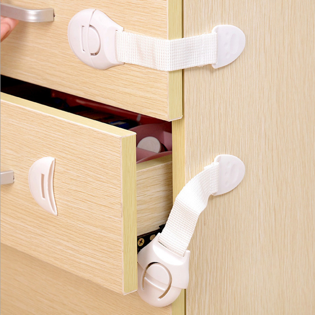 10Pcs Children Kids Baby Care Safety Locks Security Straps Cabinet Drawer  Wardrobe Door Fridge Toilet Closet