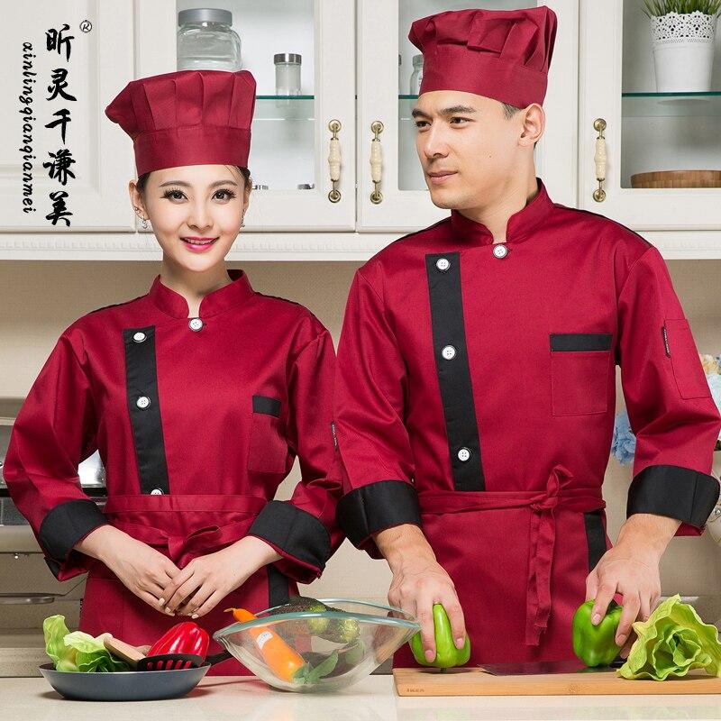 Chef Wear Long Sleeved Autumn Winter Service Hotel Kitchen Uniform Uniforms For Women Men Waitress Work Clothes J099