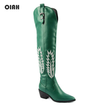 Fashion Knee High Boots Women's Autumn Winter Boots Thick High Heels Long Boots Pointed Toe Zipper Shoes Woman Green Embroider wetkiss buckle knee high boots thick high heels knight boots platform shoes woman autumn winter boots cool winter shoes woman