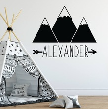 Personalized Name Wall Sticker Mountain Decals Woodland Style Wallpaper Babys Room Decor Vinyl Custom Stickers AY1231