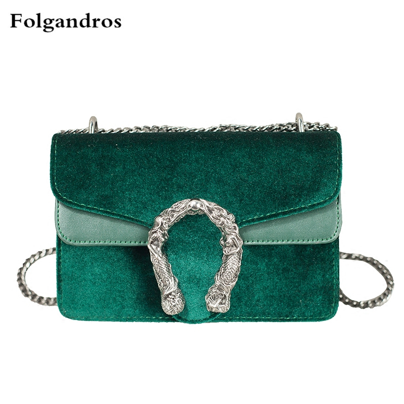 2018 Luxury Brand Fashion Velvet Women Shoulder Bag Lady Chain Messenger Crossbody Bags Famous Designer Lock Handbag Black/Green 2017 hot fashion women bags 3d diamond shape shoulder chain lady girl messenger small crossbody satchel evening zipper hangbags