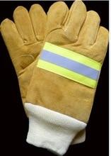 Бесплатная доставка горячей продажи коровы замши пожаротушения тепла устойчивые рабочие перчатки безопасности защитные перчатки две пары