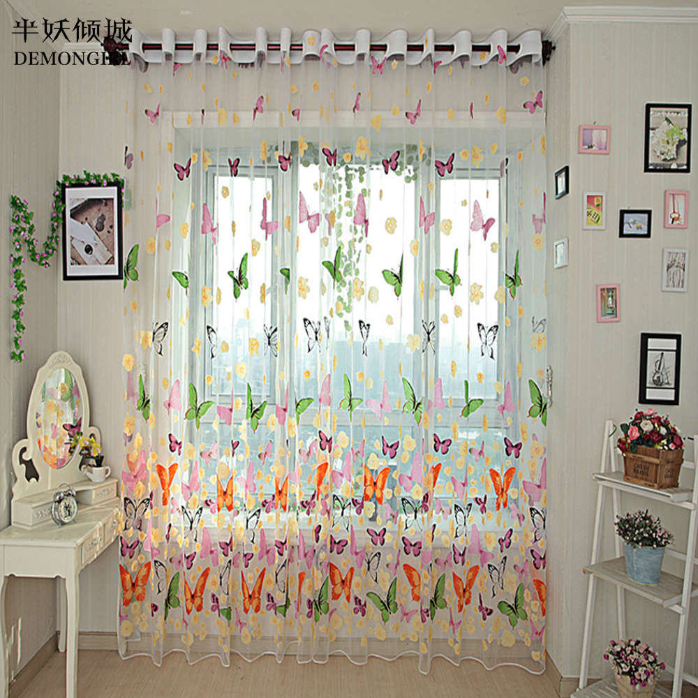 Flat panel curtains - Hot Sales Butterfly Print Sheer Window Panel Pastoral Tulle Curtains Divider New For Living Room Bedroom Kitchen