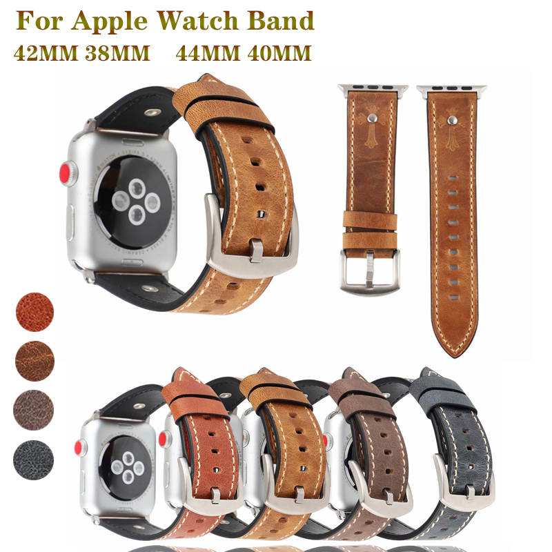Calf Leather straps for Apple watch band 42mm 38mm&for apple 4 44mm bracelet 40mm iwatch series 3 2 1