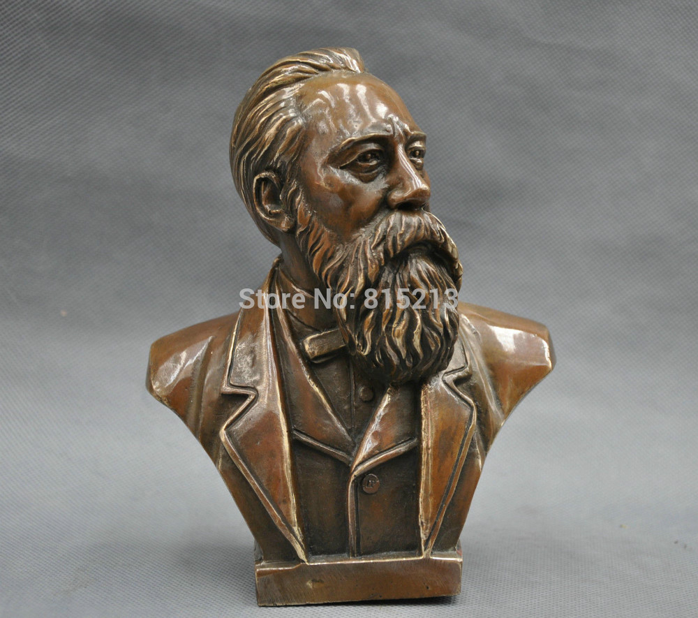 "bi0011717 7"" China Pure Bronze Communist Friedrich Von Engels Bust Statue