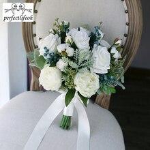 Perfectlifeoh 2020 Hot Wedding Bouquet พืชสีเขียวประดิษฐ์เจ้าสาวช่อดอกไม้ผู้หญิง Bouquet de mariage