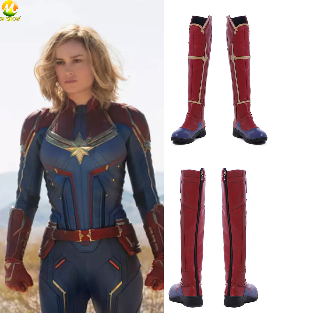 Movie Captain Marvel Cosplay Costumes Boots Carol Danvers Shoes Halloween Women Fashion Leather Red Customized Boots