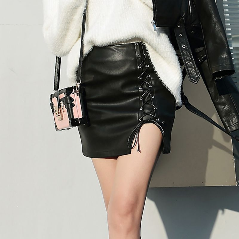 Women Summer Elegant Lace Up PU Skirt Lady Sexy Leather Skirt Women Fashion High Waist Black Skinny Skirts Large Size