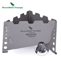 Boundless Voyage Camping Titanium Solid Alcohol Stove Windshield Set Outdoor Fuel Burning Cooker Portable Lightweight
