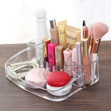 New Clear Acrylic Makeup Storage Case Nail Polish Rack Lipstick Cosmetic Storage box Holder Makeup Brush Organizer Drop Shipping(China)
