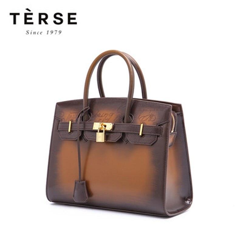 TERSE 2018 nouveau sac à main pour femme sacs à main en cuir de vachette sac à main fourre-tout marque de luxe grande capacité personnaliser Logo 9201-1