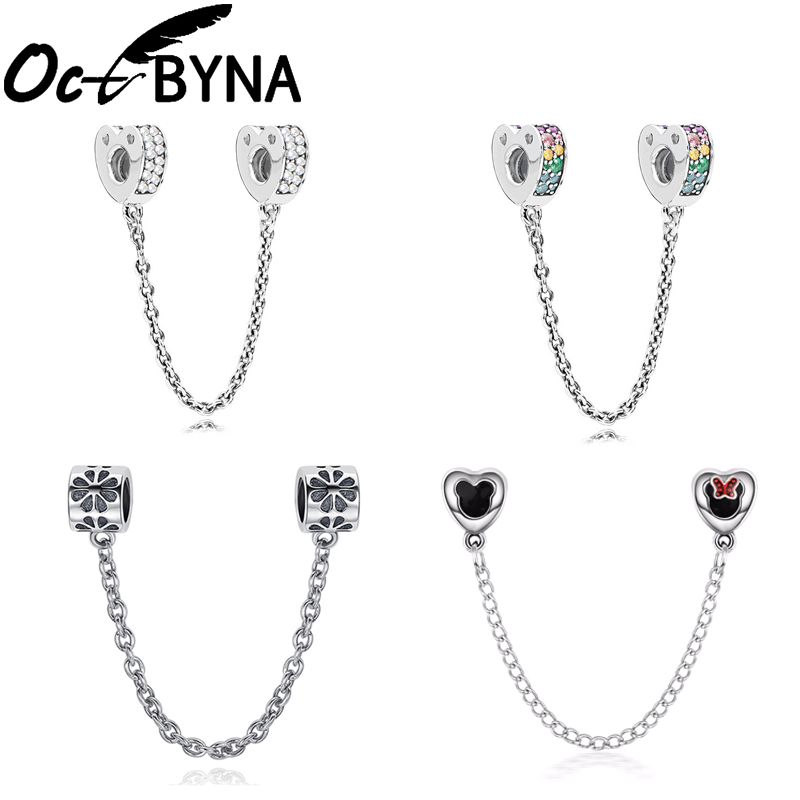 Octbyna Silver Color Charm Mickey Minnie With Sparkling Crystal Safety Chain Clip Beads Fits Pandora Bracelet DIY Jewelry