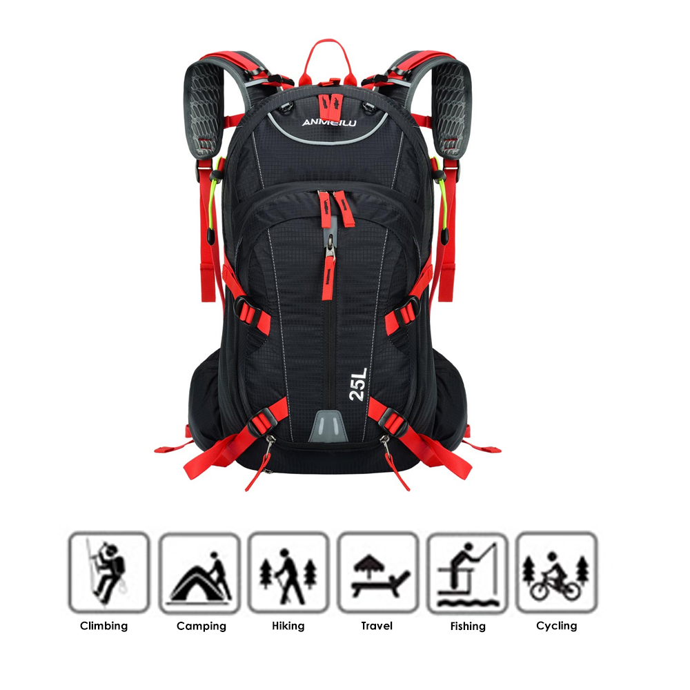 25L Water-resistant Breathable Cycling Bicycle Bike Shoulder Backpack Ultralight Mountaineering Water Bag With Rain Cover