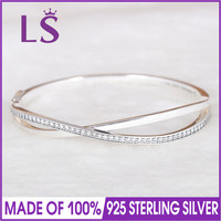 LS High Quality Starry Galaxy Entwined With Cubic Zirconia Bangle Bracelet Fit Women Charm 925 Sterling
