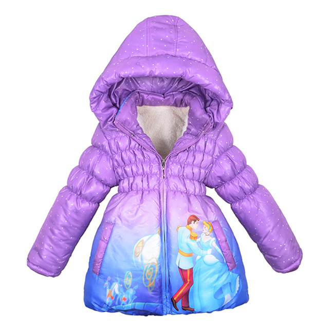 Christmas girl winter jacket Children Outerwear Cinderella coat Warm jacket for girl Clothes New Year thick Cotton-Padded