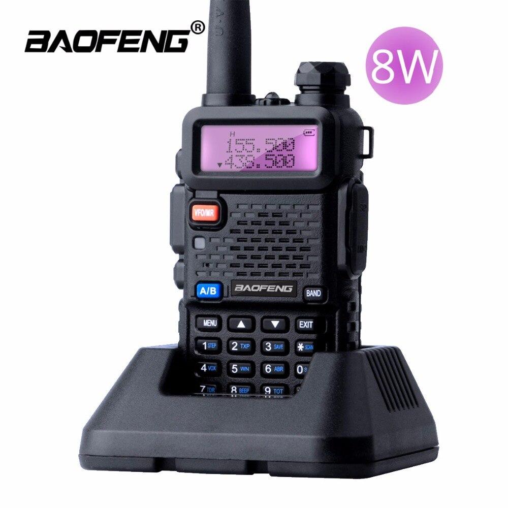 BaoFeng UV-5R 8 W Walkie Talkie 10 km Dual Band UV 5R Ham Two-way Radio VOX Torcia Elettrica Palmare Lungo Raggio Caccia Portatile Radio