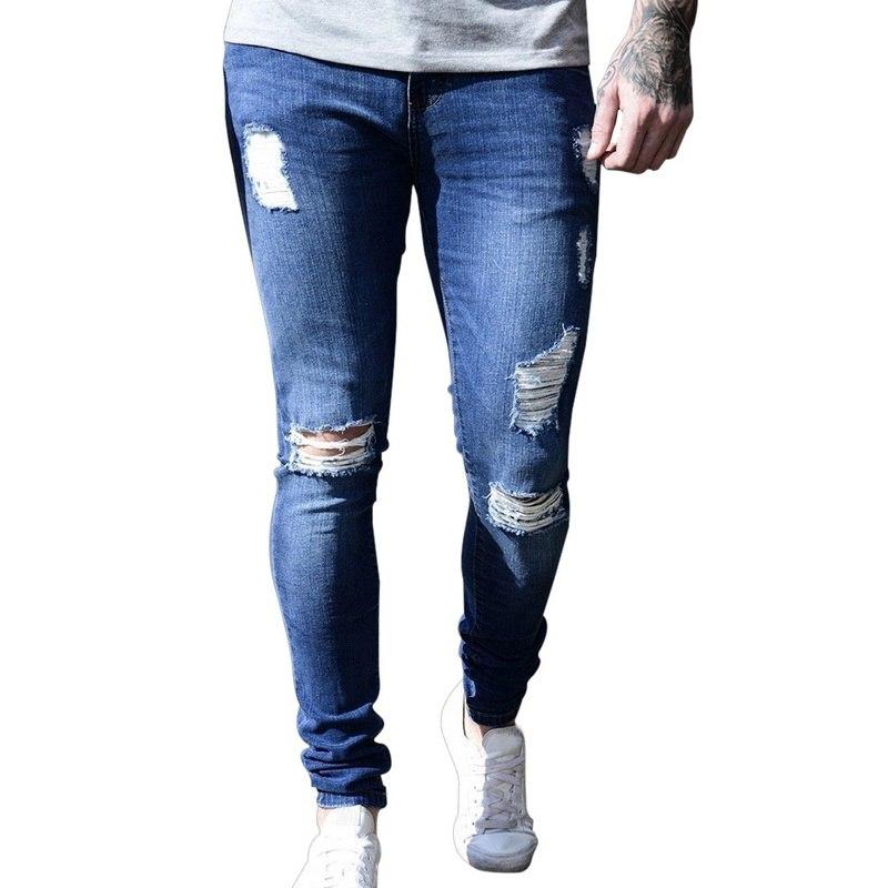 NIBESSER, мужские брендовые обтягивающие джинсы, брюки, повседневные брюки,, джинсовые черные джинсы, homme, Стрейчевые узкие брюки размера плюс, уличная одежда 3XL - Цвет: 2 Dark Blue Hole