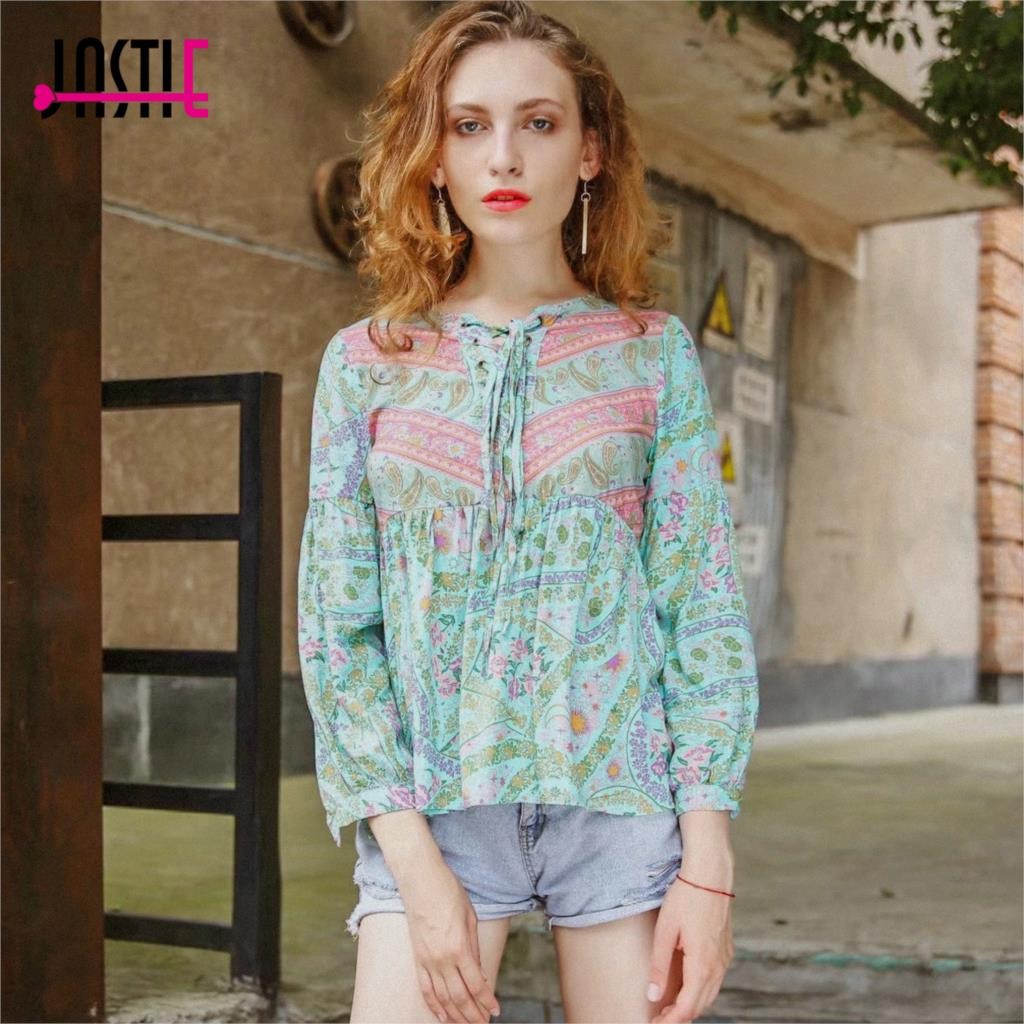 Jastie City Lights Blouse Lace up V-Neck Women Shirt 2018 Spring Summer Long Sleeve Top Boho Chic Casual Beach Blouses Shirts